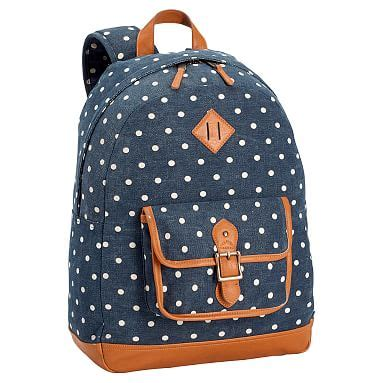 northfield washed navy dot canvas backpack pbteen