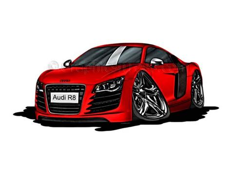 Audi R8 Cartoon Caricature