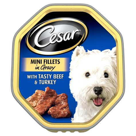 caesars food cesar tray mini fillets in gravy tasty beef turkey 14x150gm feedem