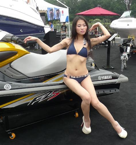 boat show japan salesgirl can t find the saddle of a japanese jet ski in