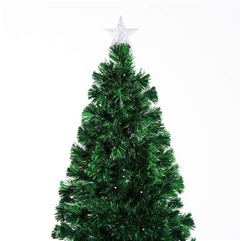 homcom christmas tree control homcom 6ft pre lit led optical fiber tree artificial d 233 cor with stand green