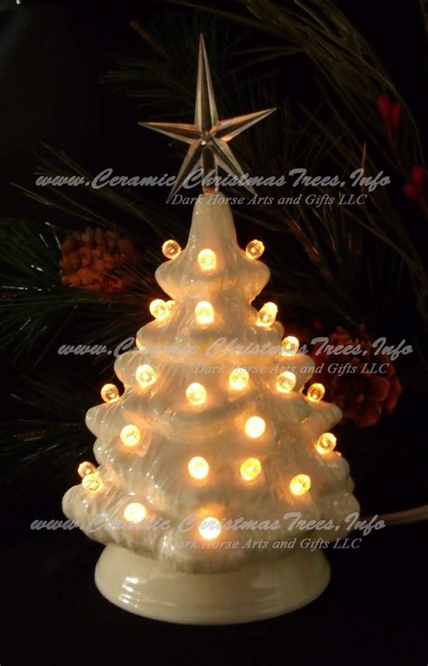 White Christmas Ceramic Lighted Christmas Tree 7 Inches Ceramic Lighted Tree