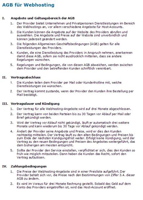 Muster Vertrag Schweiz Vertrag Provider Muster F 252 R Agb Zum