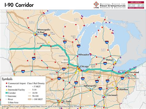 usa road map i 90 i 90 mid america freight coalition