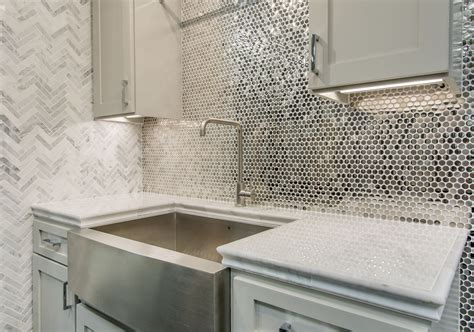 kitchens with mosaic tiles as backsplash reflective metallic kitchen backsplash tile stainless