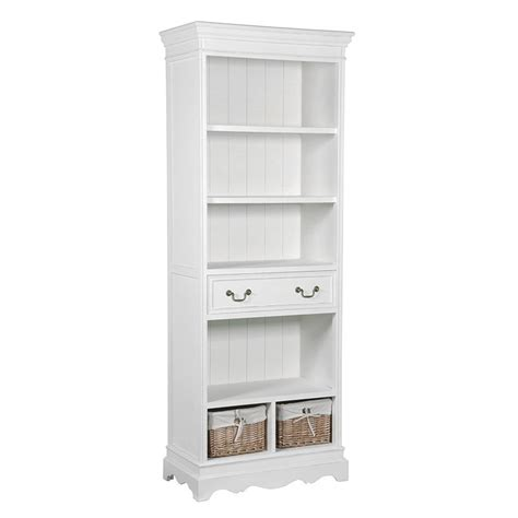 bookshelves with baskets the lilly range white wooden bookcase with drawers and