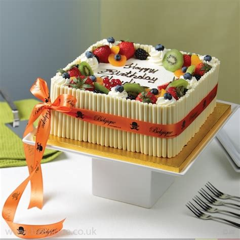 Fruit Cake Decoration by Belgique Square Eggless Fresh Fruit Gateau White
