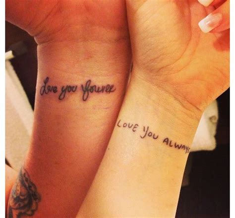 tattoo wrist writing his and hers my writing on me and his on mine