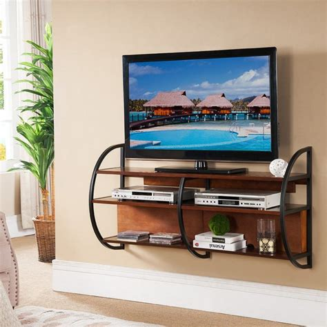 Shelf For Top Of Flat Screen Tv by Furniture Black Metal Floating Tv Stand With Brown Wooden