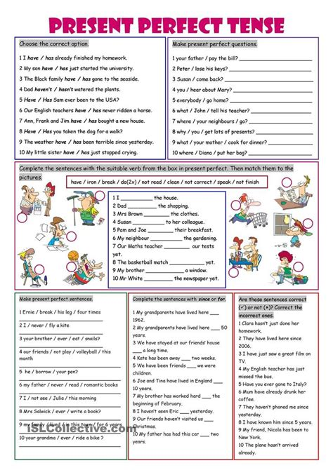 printable grammar worksheets present perfect tense worksheets pinterest english