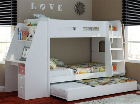 Buy Bunk Bed Olympic White Wooden Bunk Beds With Large Desk Storage And Trundle Bed