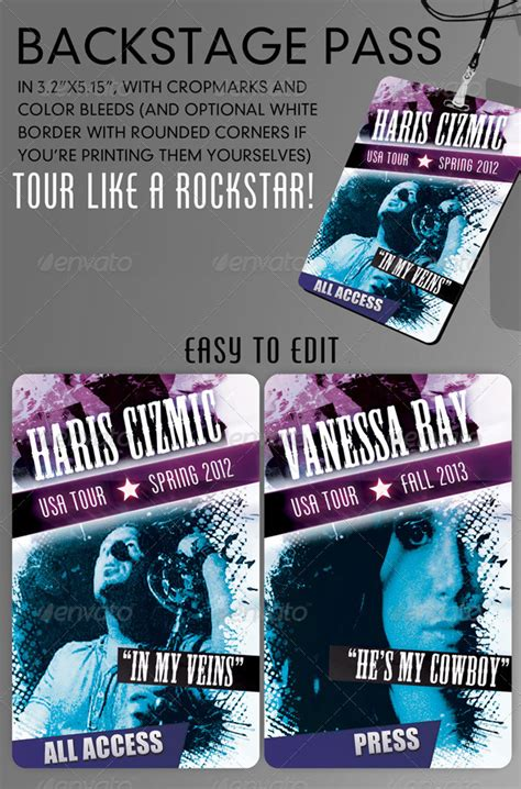cool backstage pass template version 2 0 graphicriver