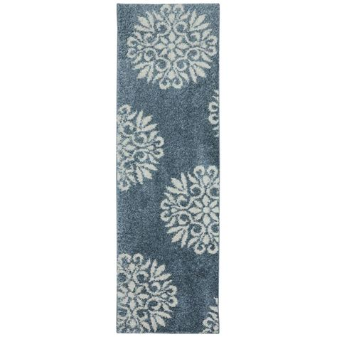 Mohawk Runner Rug Mohawk Home Exploded Medallions Blue Woven 2 Ft X 7 Ft 10 In Rug Runner 437237 The Home Depot