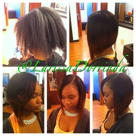 partial sew ins on short hair partial sew in styled and cut into a bob by larissa