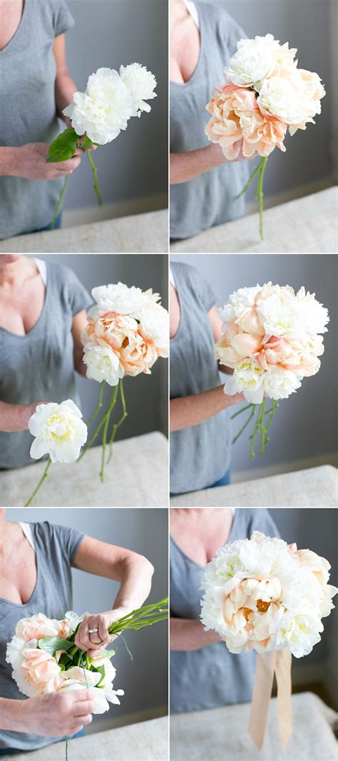 diy how to make a bouquet for a photoshoot green wedding shoes create your own handtied peony wedding bouquet