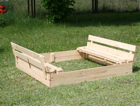 sandbox with bench lid sandpit p 03 120x120x20 wooden sandbox with benches lid