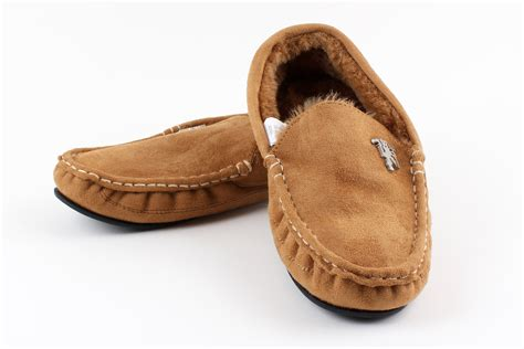 mens moccasin house shoes man united inside indoor winter moccasin slippers in brown ebay
