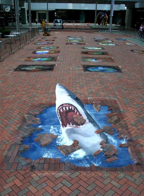3d Paintings by 3d Shark Illusion Street Art