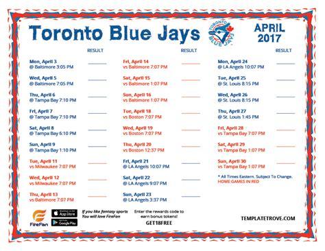 printable schedule toronto blue jays printable 2017 toronto blue jays schedule