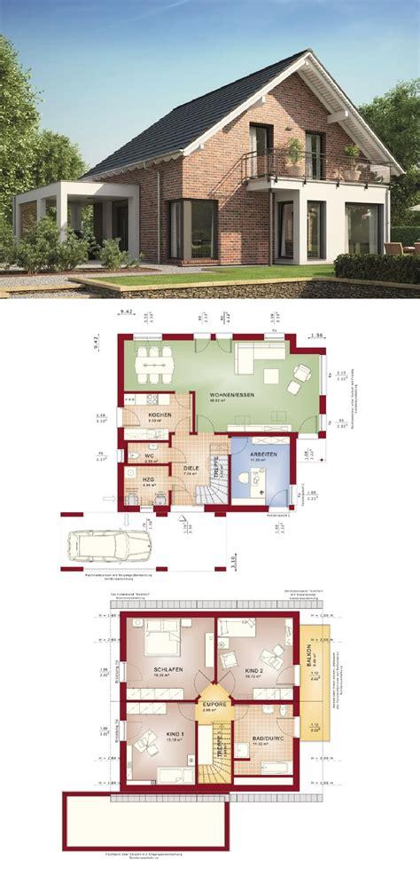 einfamilienhaus mit klinker fassade satteldach und carport