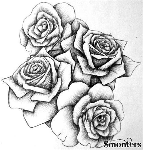 tattoos of white roses sketch by modularsundays black and white sketch