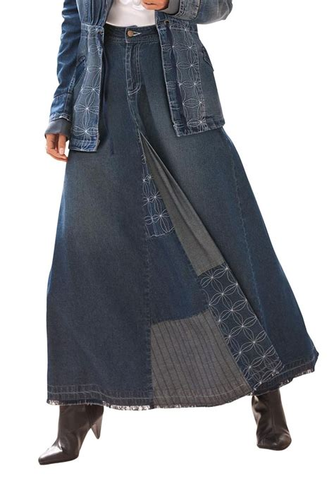 Patchwork Denim Skirt - patchwork denim skirt clothing costume