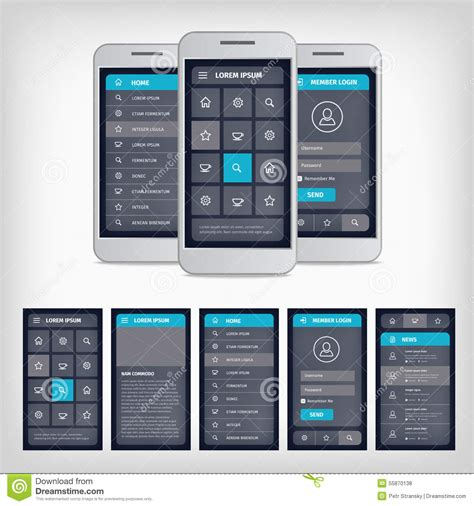 layout template mobile vector blue mobile user interface stock vector