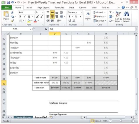 Free Bi Weekly Timesheet Template For Excel 2013 Employee Bi Weekly Timesheet Template