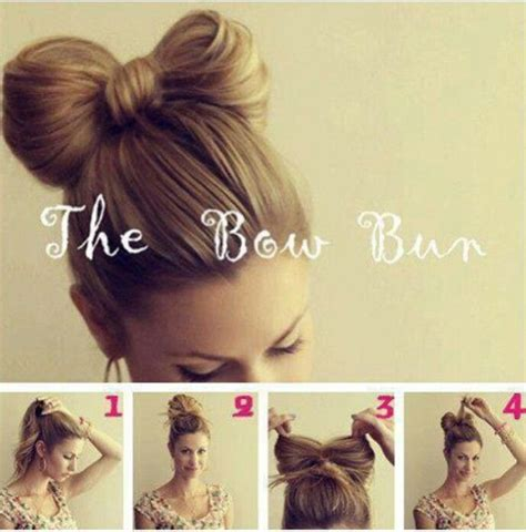 diy hairstyles bow bow bun tutorial blonde hair easy hair pinterest