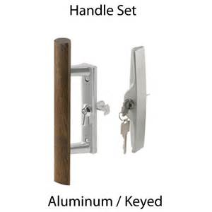 sliding glass patio door handle aluminum keyed