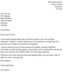 flight attendant resignation letter example toresign com