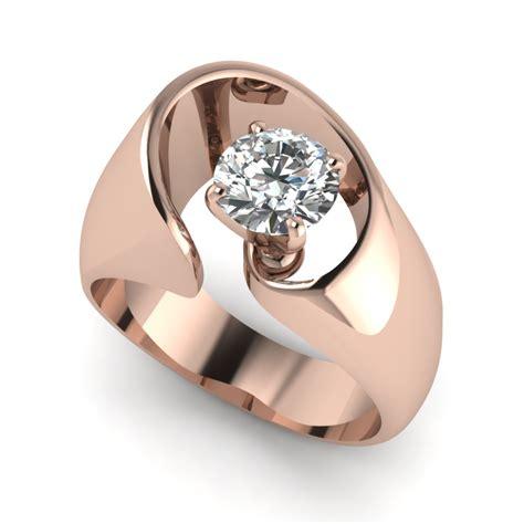 Rose Gold Round White Diamond Engagement Wedding Ring In