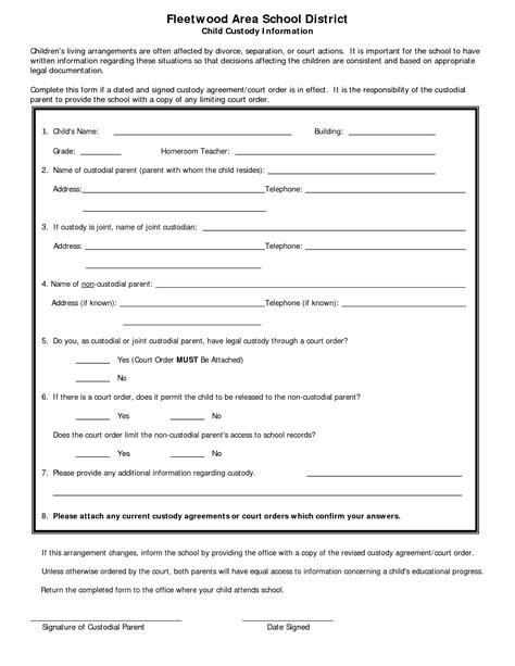 exclusive written custody agreement template free template 2018