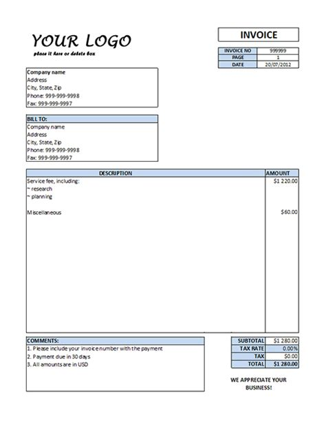 collection standard invoice template doc how write bill for services