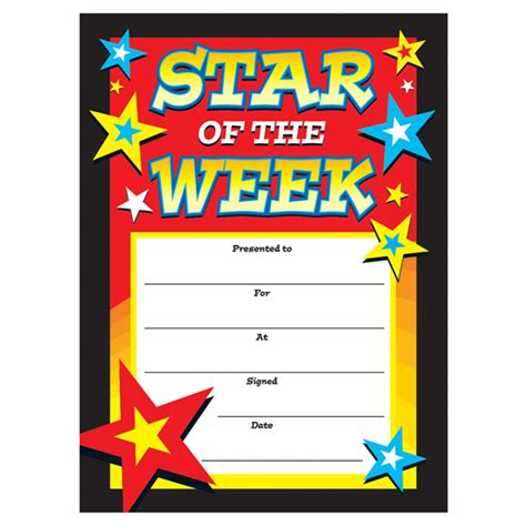 of the week certificate template certificates of the week