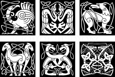 celtic animals and birds with traditional irish ornament