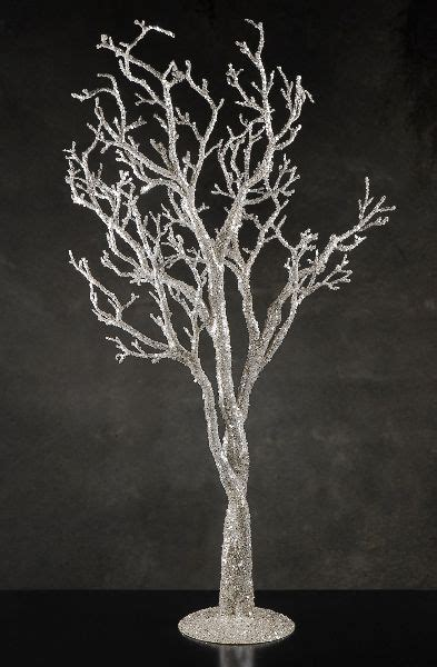 "Silver Glitter 38"" Potted Manzanita Tree, Event Decor"