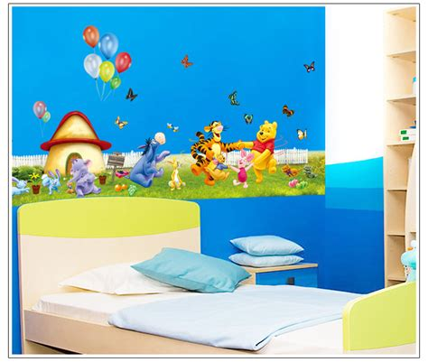 cartoon wall painting in bedroom 40 110cm winnie the pooh wall stickers for kids rooms