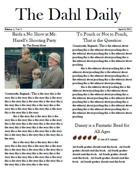 create a newspaper template and have students write a