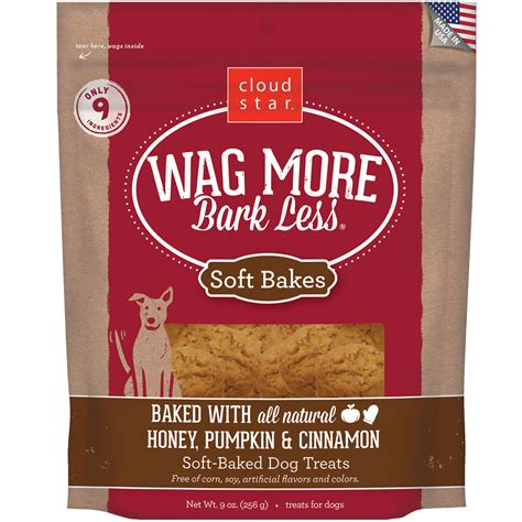 wag more dogs wag more bark less 174 soft baked treats honey pumpkin cinnamon 9 oz