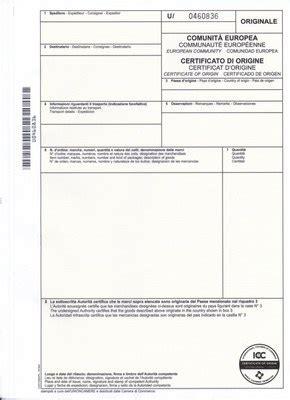 certificati di commercio certificato di origine di commercio di