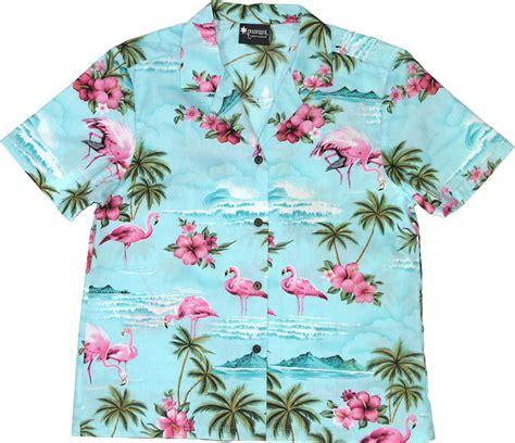 hawaiian shirt flamingos womens blue hawaiian shirt