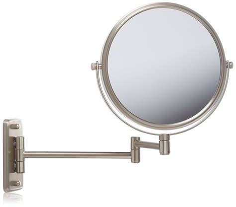 wall mount magnifying mirror with led light chrome in