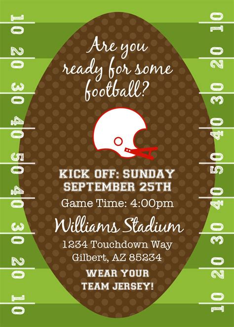 Football Or Tailgating Birthday Party Or Shower Printable Invitation By Fresh Chick Designs Football Invitation Template