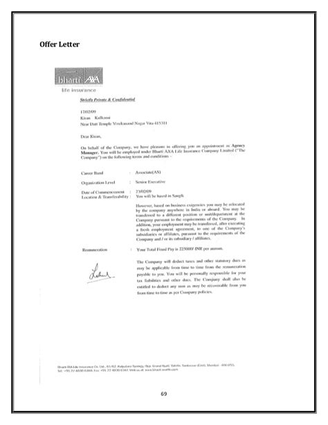 Outstanding Offer Letters Bharti Axa Insurance Company