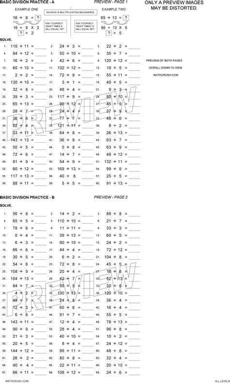 printable division worksheets with answer key division worksheets with answer key lesupercoin
