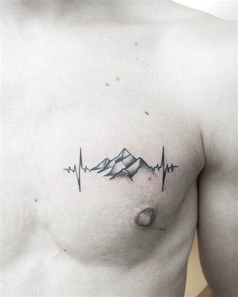 heartbeat tattoo on chest meaning 46 magnificent mountain tattoo designs page 4 of 4