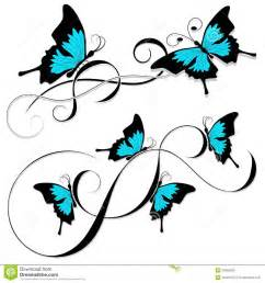 butterfly tattoo black blue tribal royalty free stock