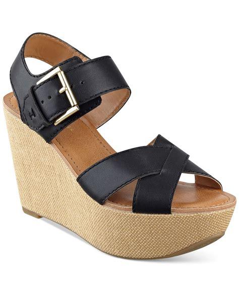 hilfiger wedge sandals hilfiger fizz platform wedge sandals in black lyst