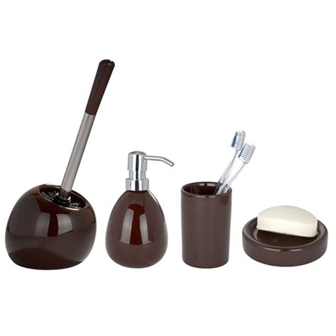 Brown Bathroom Accessories Wenko Polaris Ceramic Bathroom Accessories Set Brown At Plumbing Uk